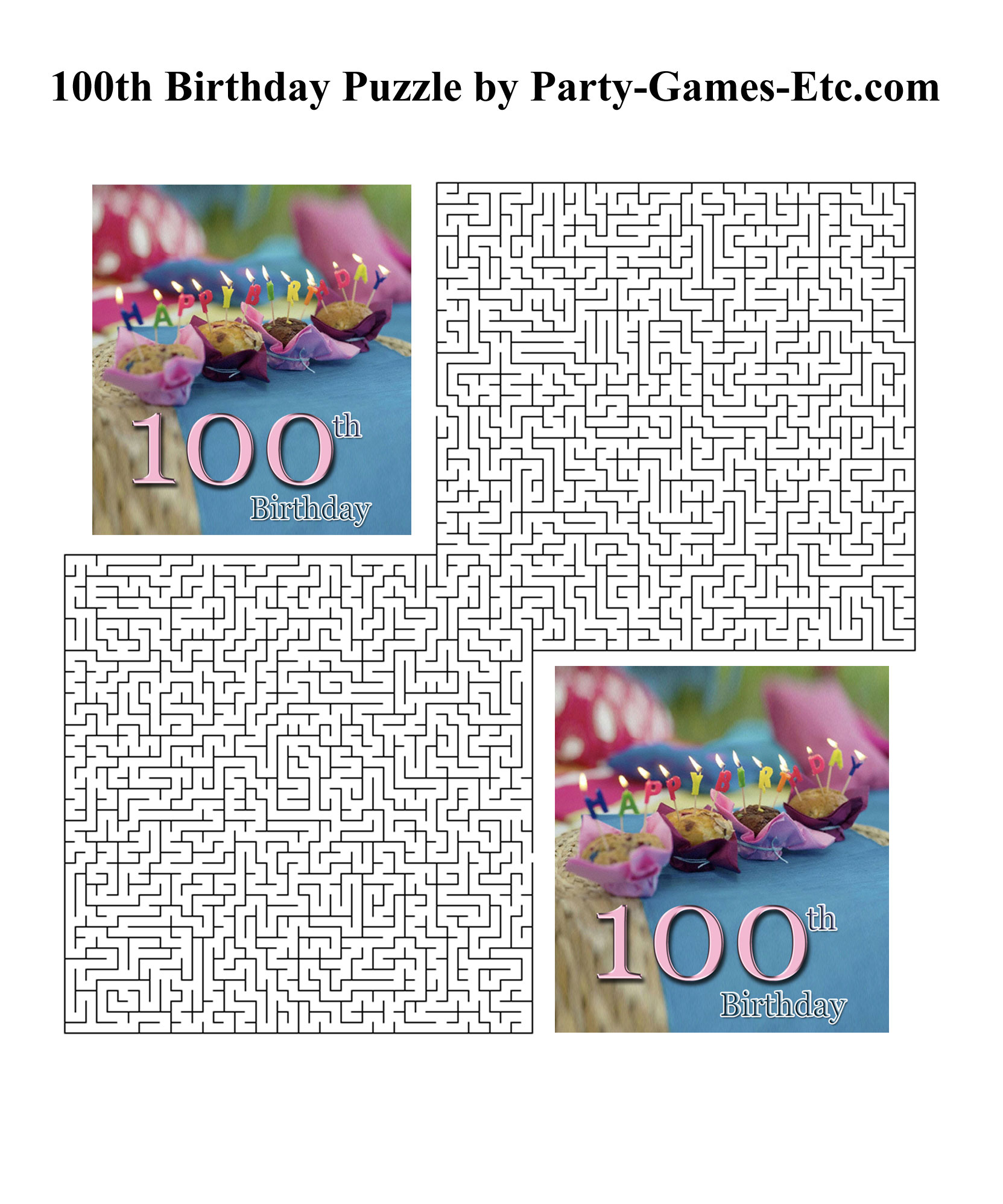 100th Birthday Party Games, Free Printable Games And