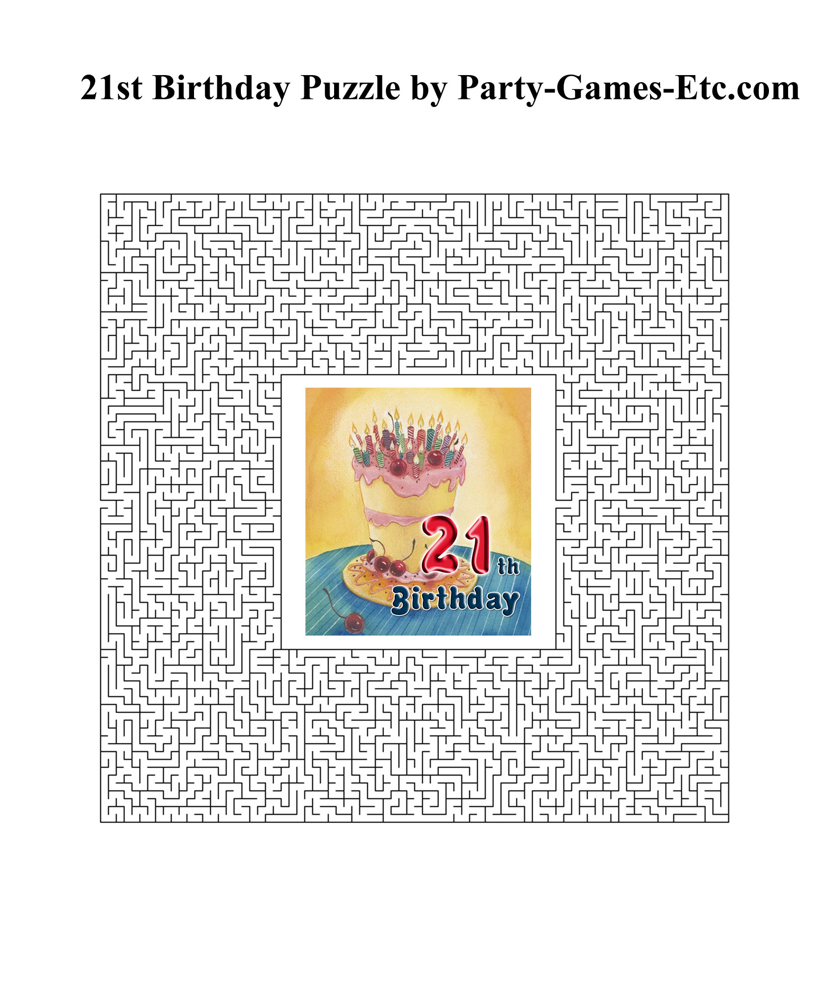 21st Birthday Party Games, Free Printable Games And