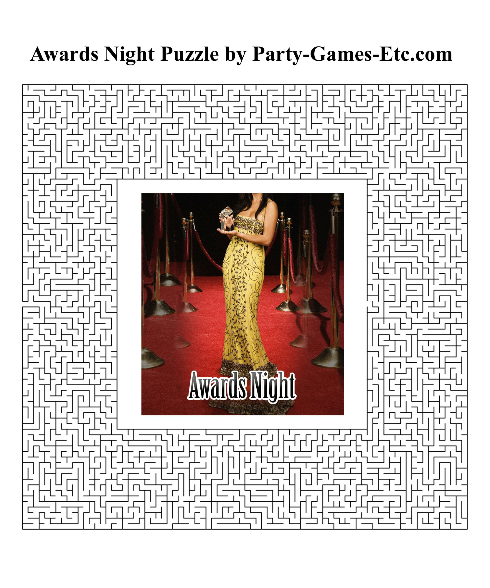 Free Printable Awards Night Party Game and Pen and Paper Activity