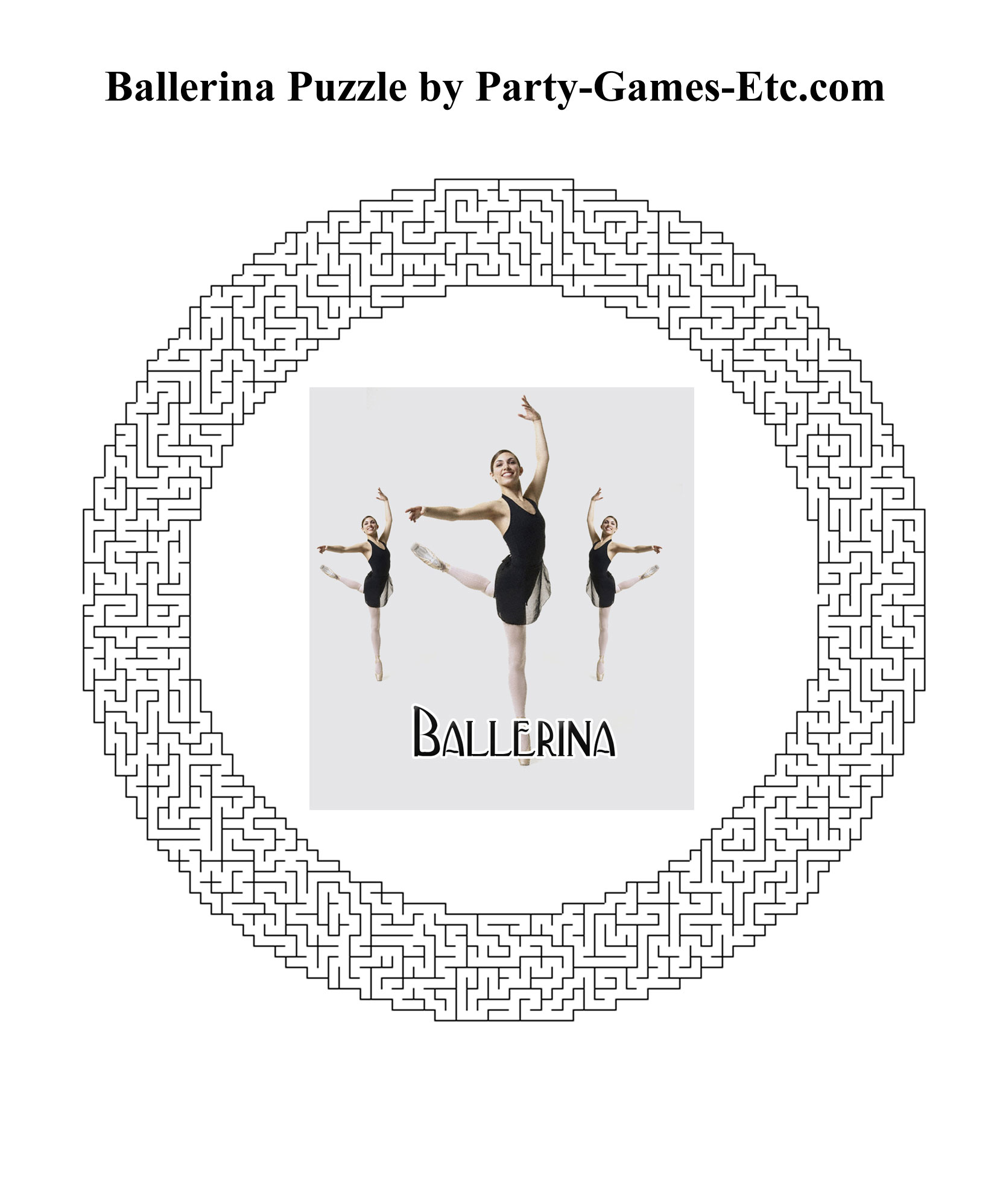 Free Printable Ballerina Party Game and Pen and Paper Activity