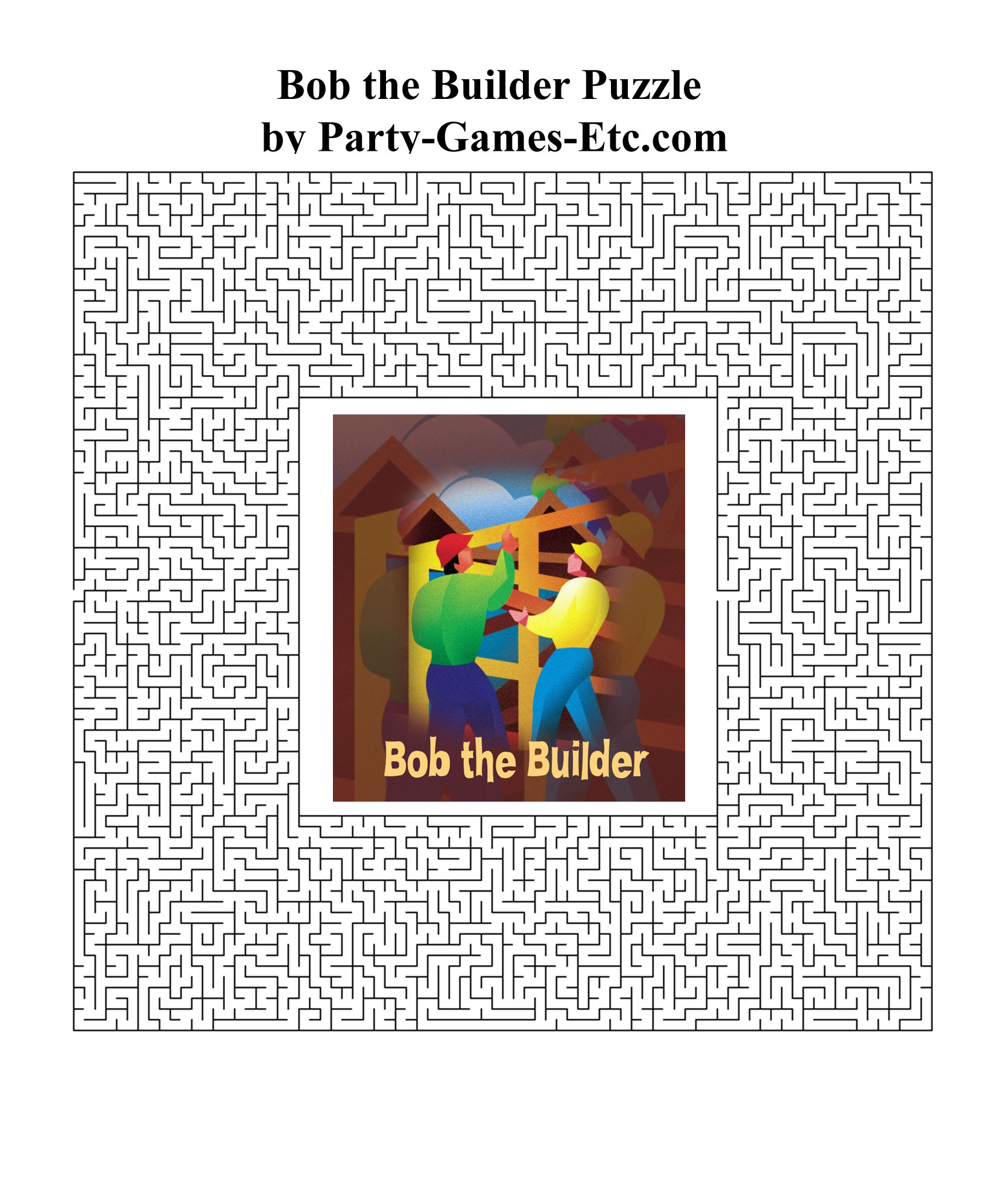 Free Printable Bob the Builder Party Game and Pen and Paper Activity