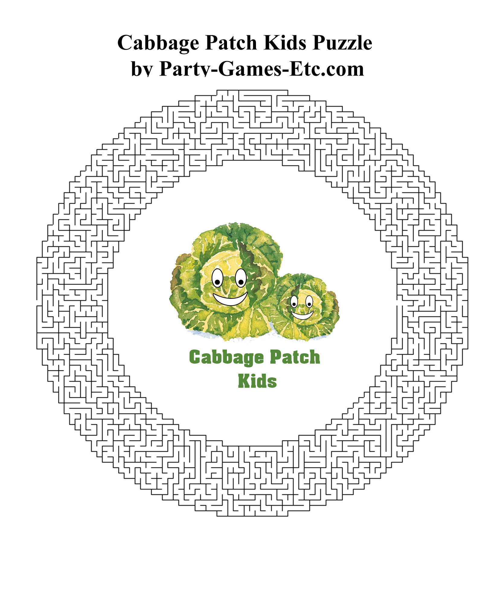 Free Printable Cabbage Patch Kids Party Game and Pen and Paper Activity