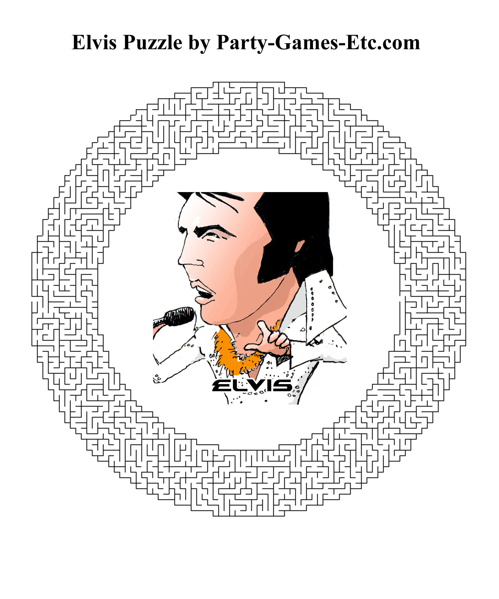 Free Printable Elvis Party Game and Pen and Paper Activity