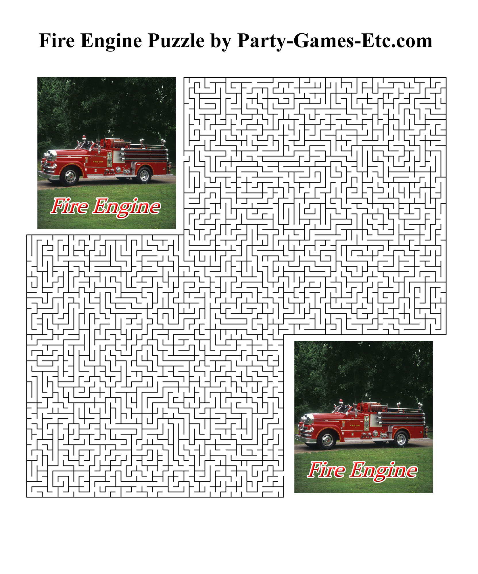 Free Printable Fire Engine Party Game and Pen and Paper Activity
