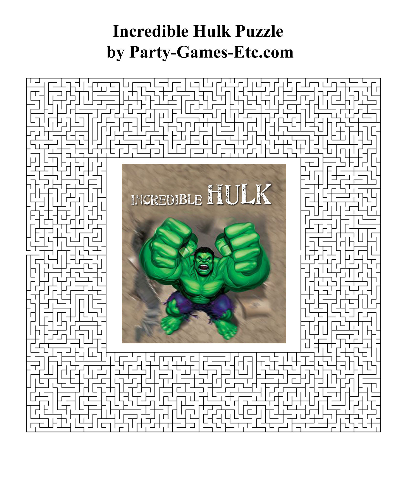Free Printable Incredible Hulk Party Game and Pen and Paper Activity