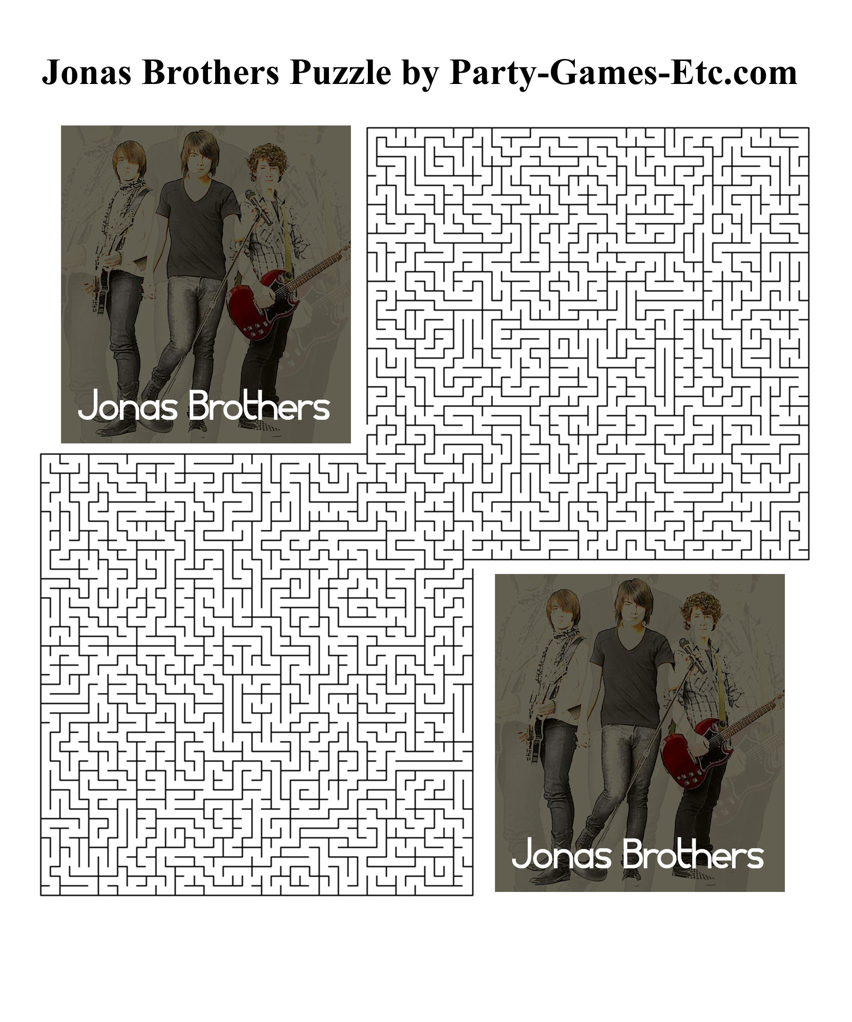 Free Printable Jonas Brothers Party Game and Pen and Paper Activity