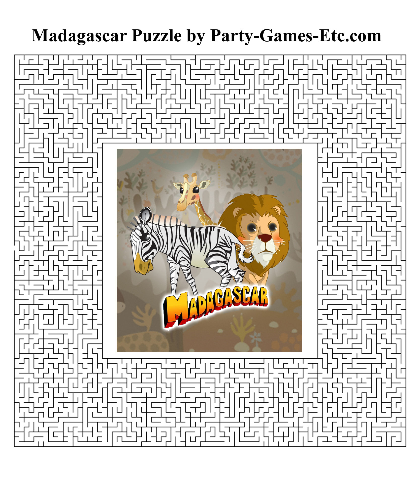 Free Printable Madagascar Party Game and Pen and Paper Activity