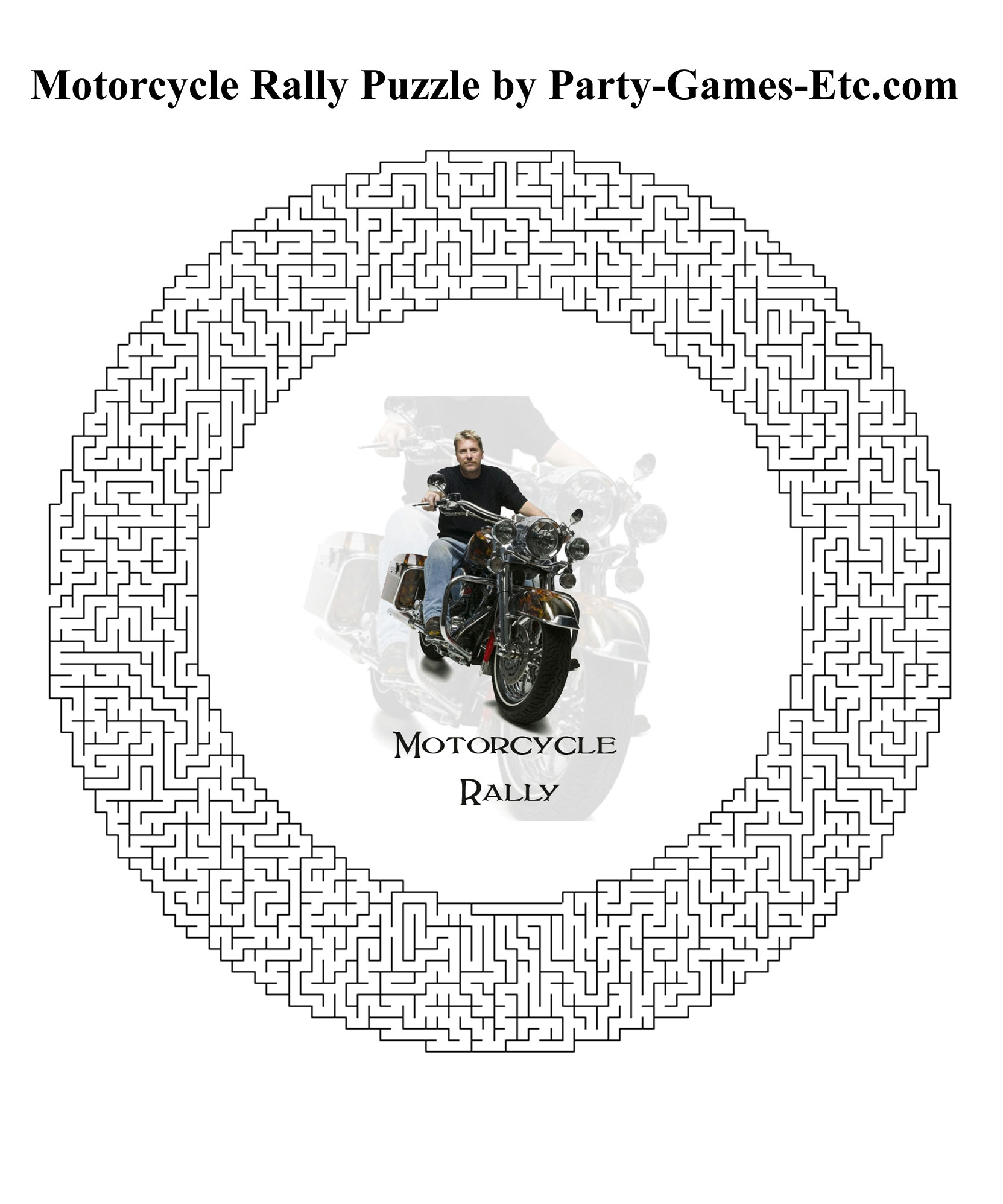 Free Printable Motorcycle Rally Party Game and Pen and Paper Activity