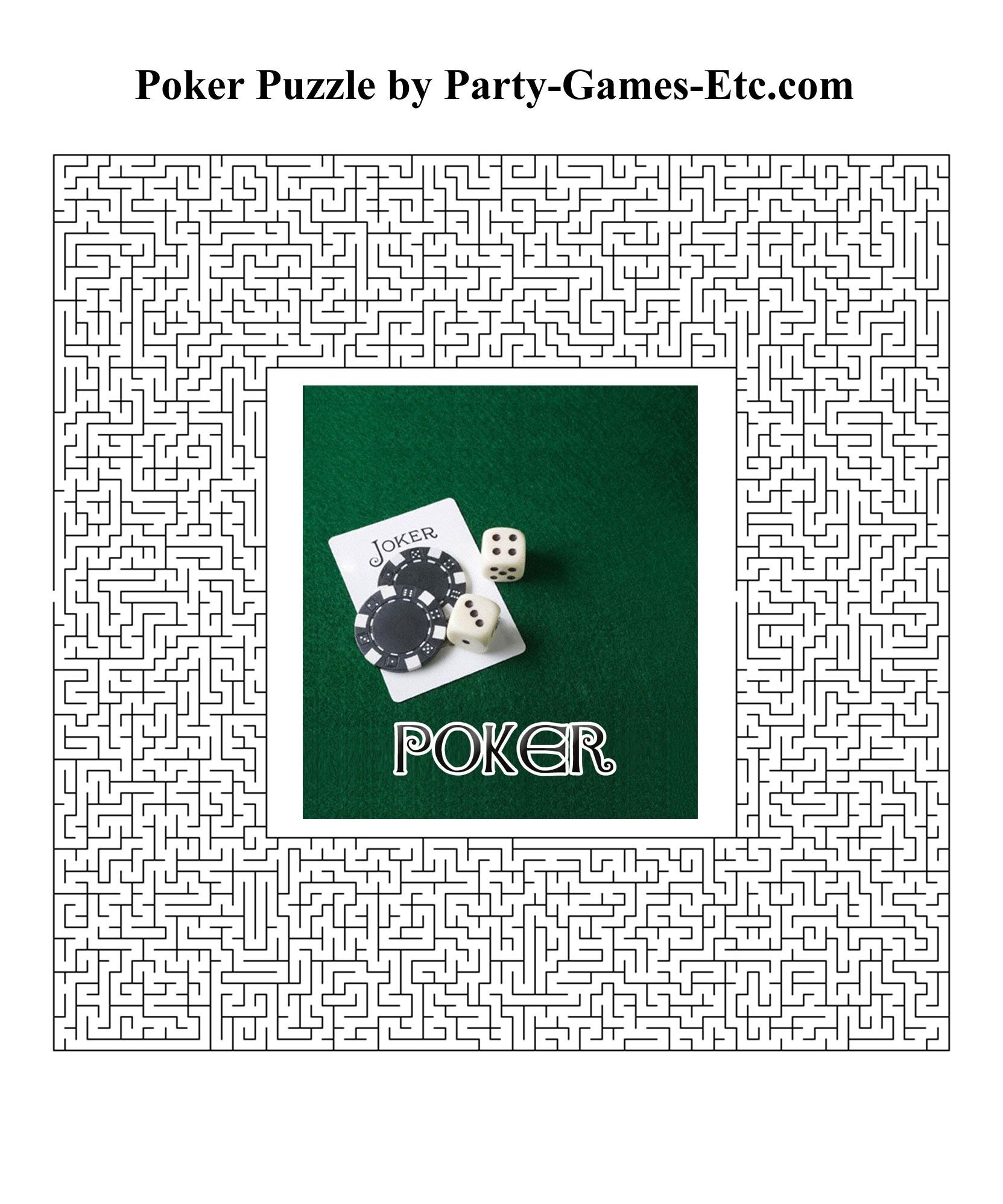 Free Printable Poker Party Game and Pen and Paper Activity