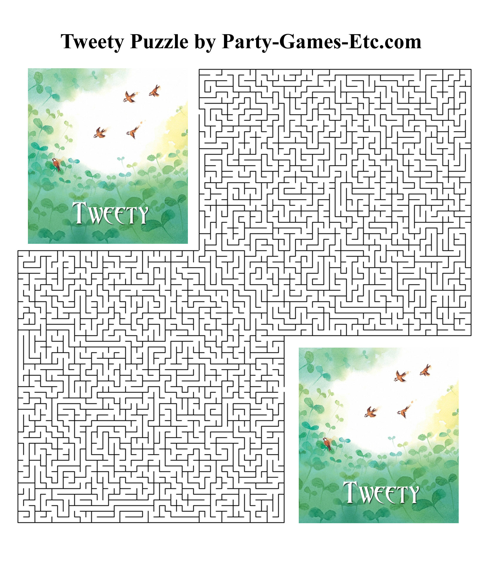 Free Printable Tweety Party Game and Pen and Paper Activity