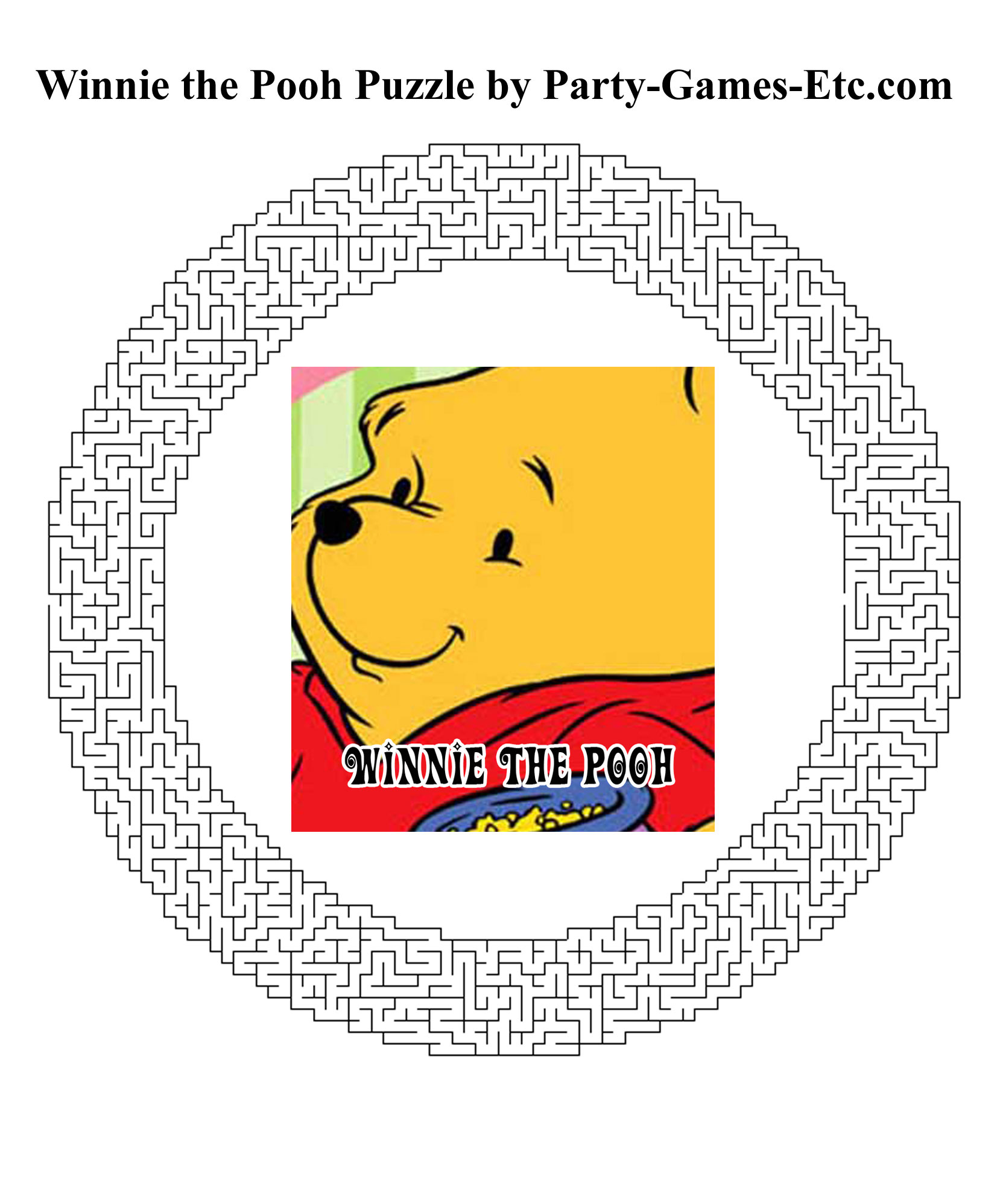 Free Printable Winnie the Pooh Party Game and Pen and Paper Activity