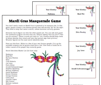 Printable Mardi Gras Games