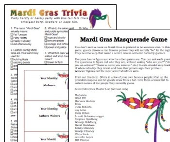 Mardi Gras Printable Games