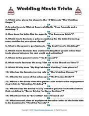 Printable Wedding Movie Trivia