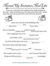 Wedding Messed Up Invitations MadLibs Game