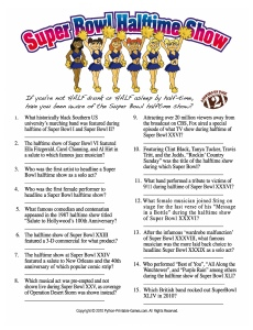 Super Bowl Printable Party Games: Super Bowl halftime show trivia