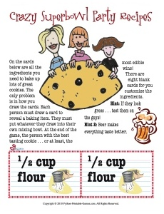 Super Bowl Printable Party Games: ANTI Super Bowl activities for girls: Super Cookie Bake Off!