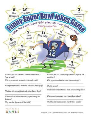 Super Bowl Printable Party Games: Super Bowl funny
