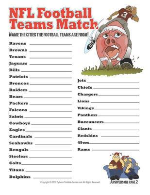 Super Bowl Printable Party Games: Super Bowl facts printable team names